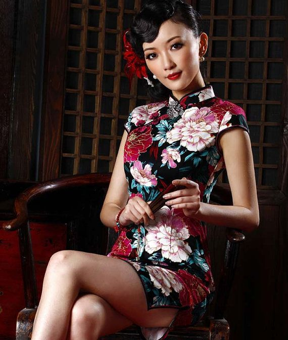 fe2965a50 Traditional Chinese Clothing - Elegant Cheongsam Qipao Short Dress with  Lotus Flower Pattern Black / White