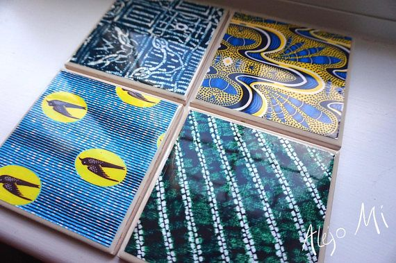 Tile Coasters Set Of 4 African Print Ceramic