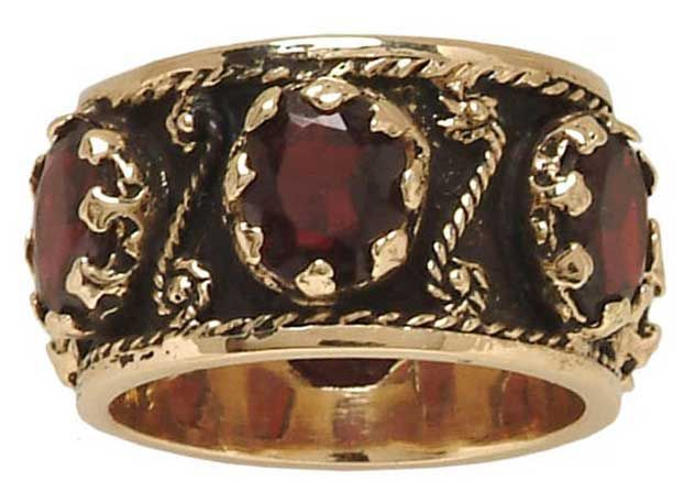 Antique Style Garnet Wedding Bands 14k Yellow Gold Reproduction Ring