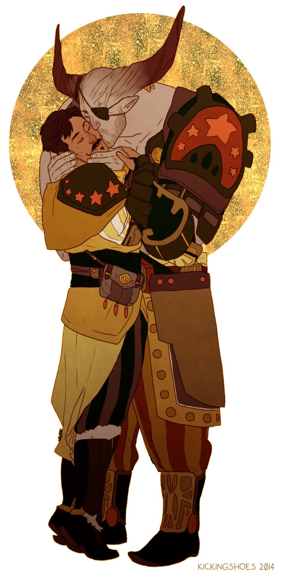 """""""Dorian and Iron Bull. I'm glad I wasn't the only one to think they were good together!"""" And Bull flirts with him. (Bull's amazing flirting SKILLZ! xD )"""