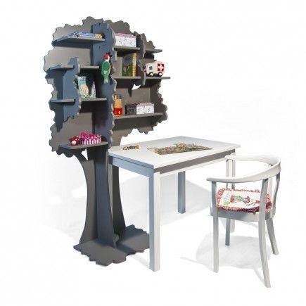 boekenkast boom linde rechts in droomgrijs met tafel melle 70 x 100 cm