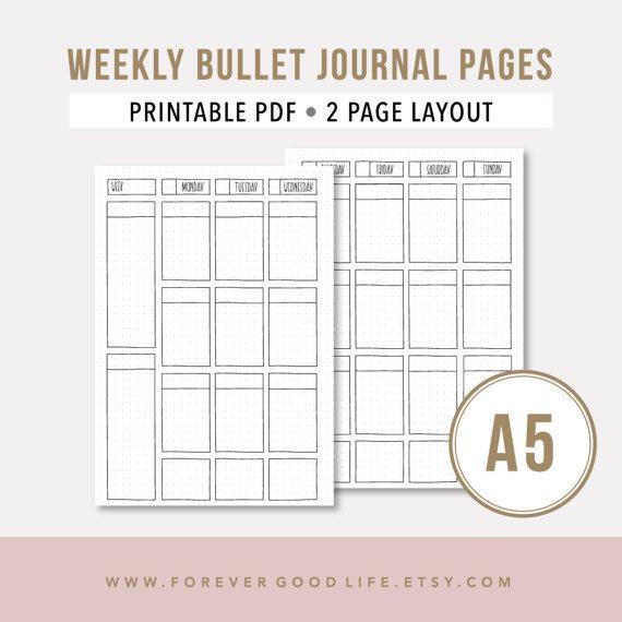 A5 Printable Planner Insert • Bullet Journal Printable Template ...
