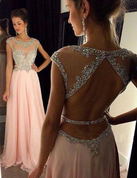 Kleider - Gorgeous Lang A-Linie Rückenfrei Strass Abendkleid - ein ...