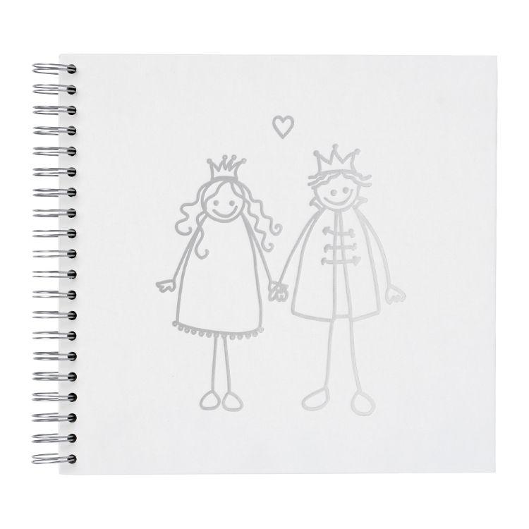 HAPPY MARRIAGE Photo album, paper, white insert, wire-o, 27 x 26 cm Silver