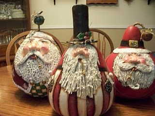Gourd Santa sculpted with paperclay