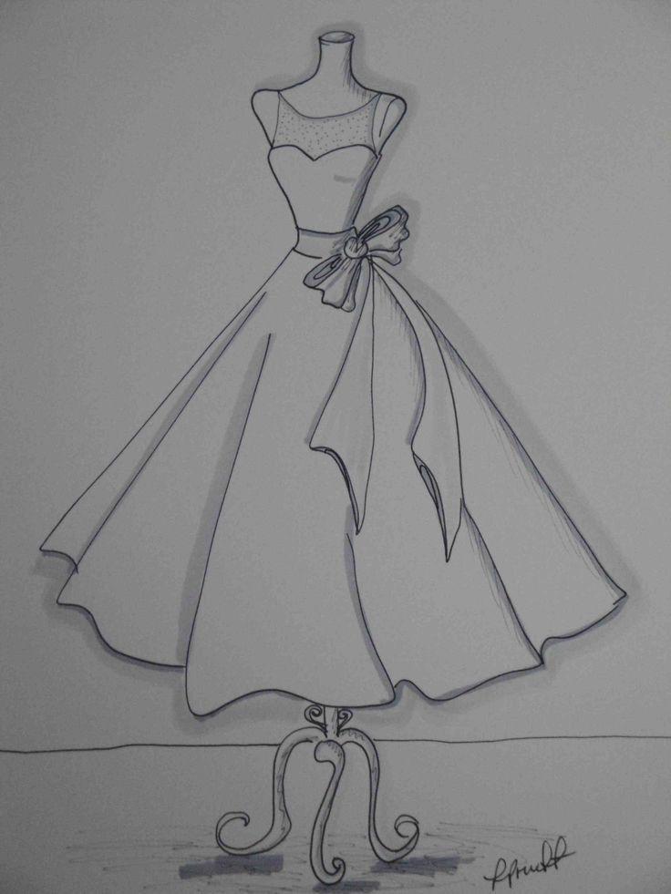 Рисунки карандашом платья для начинающих дизайнеров быстро стала