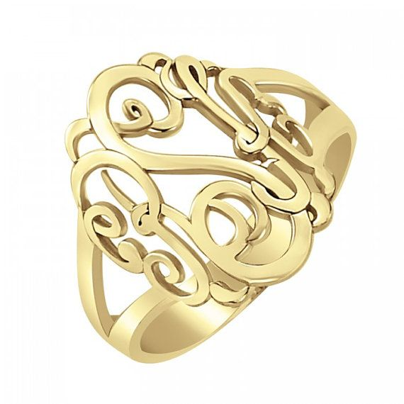 Fine Jewelry Personalized 18mm Script Monogram Ring kJbCMZ
