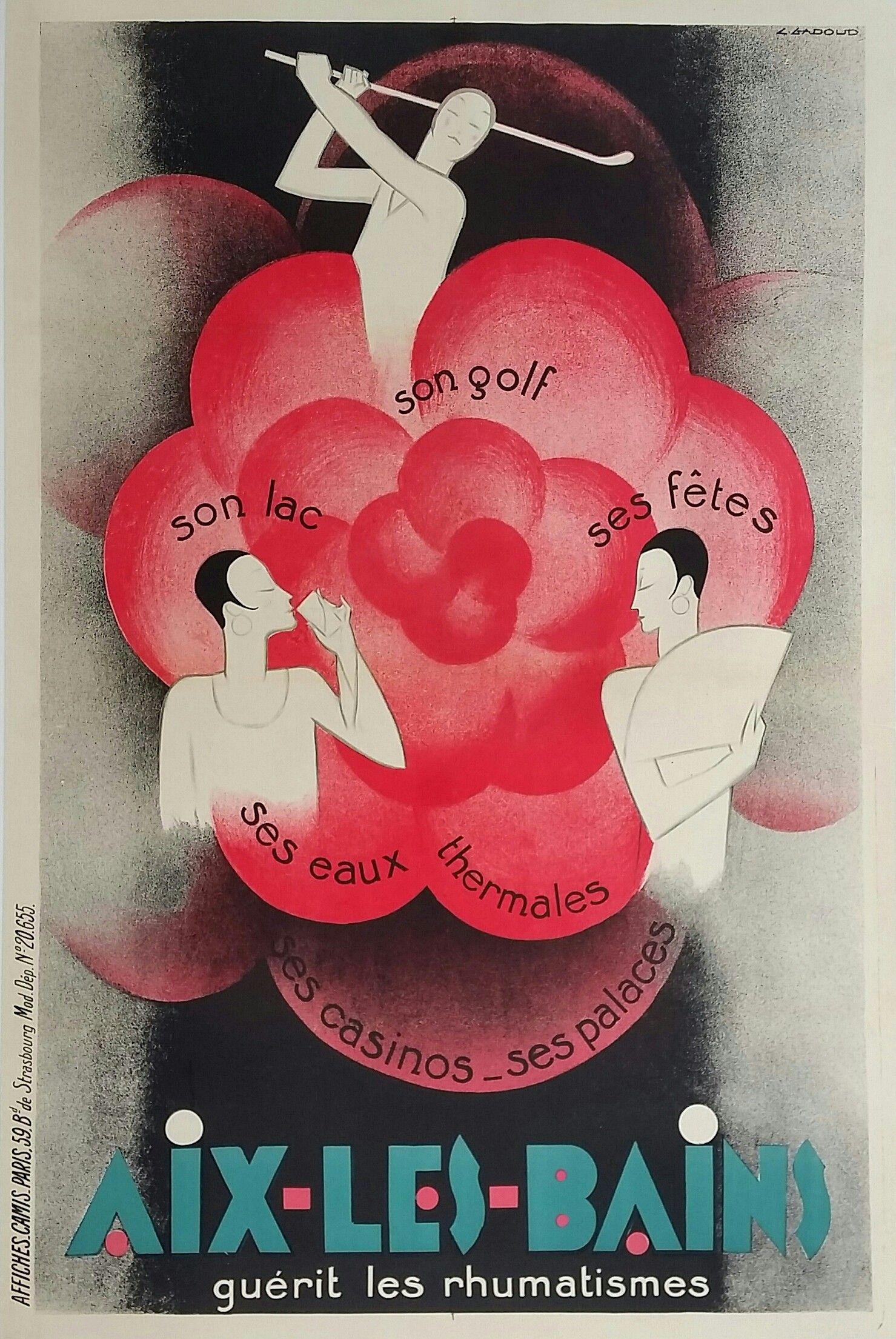 Original Vintage Poster Aix Les Bains Golf Lac Eaux Thermales Casinos Claude Gadoud Vintage Travel Posters Vintage Posters Travel Posters