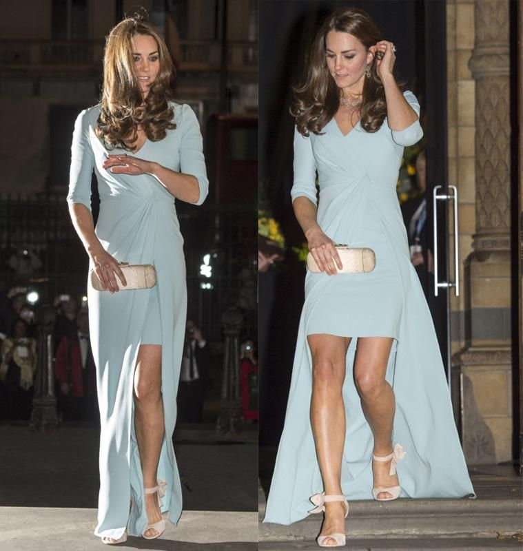 Kate Middleton Baby Blue Evening Gowns by Jenny Packham V Neck Elbow ...
