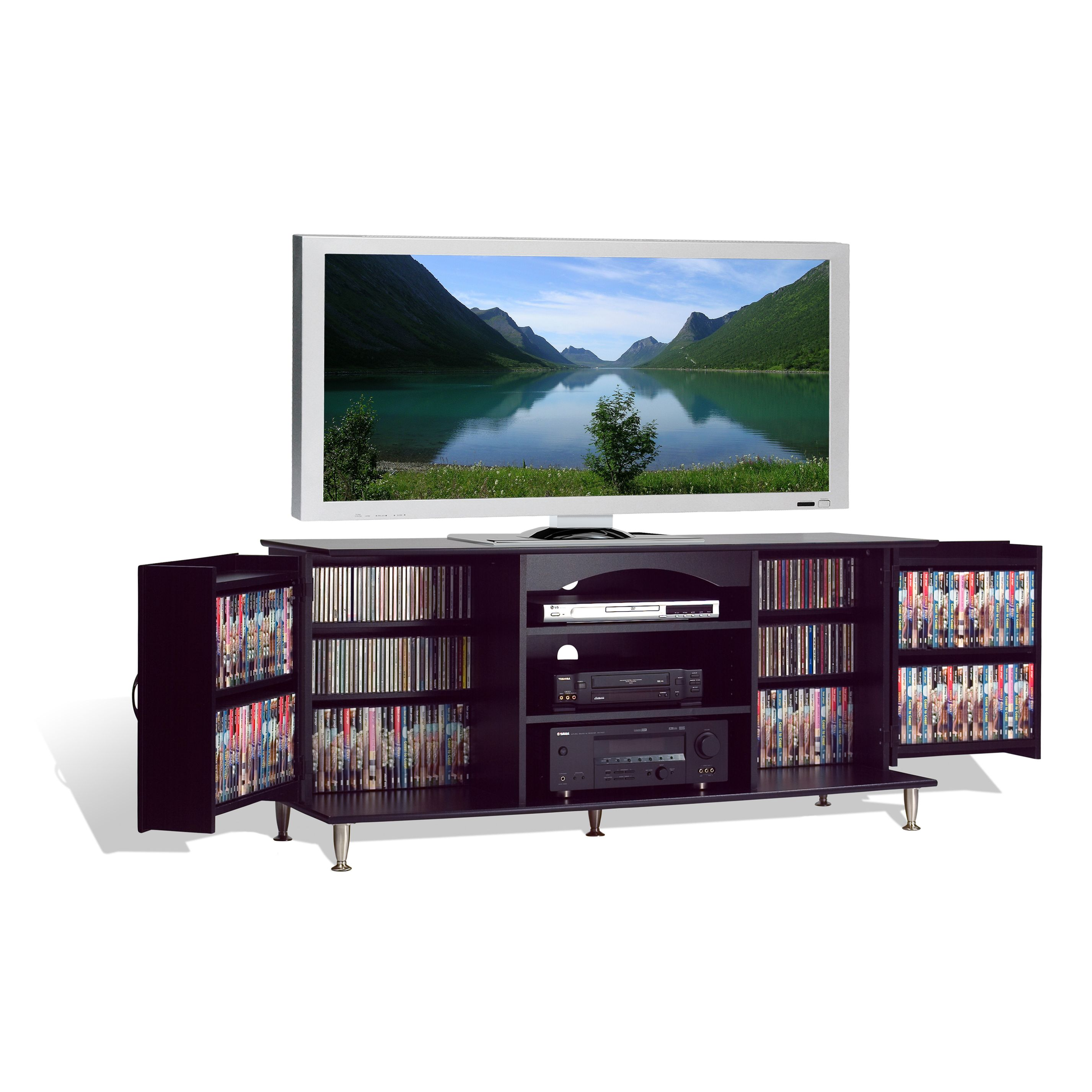 Designed for your plasma or LCD TV this sleek console ac modates
