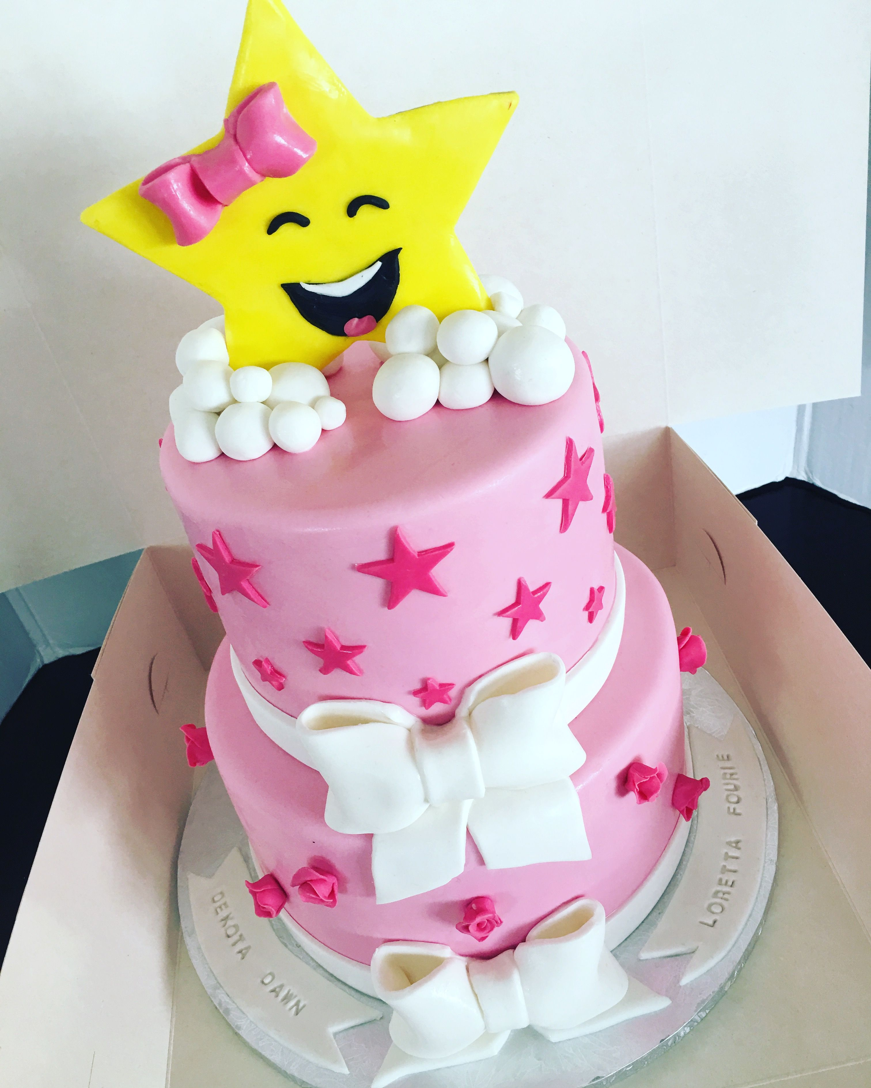 Star themed Naming day Babyshower Cake Pink
