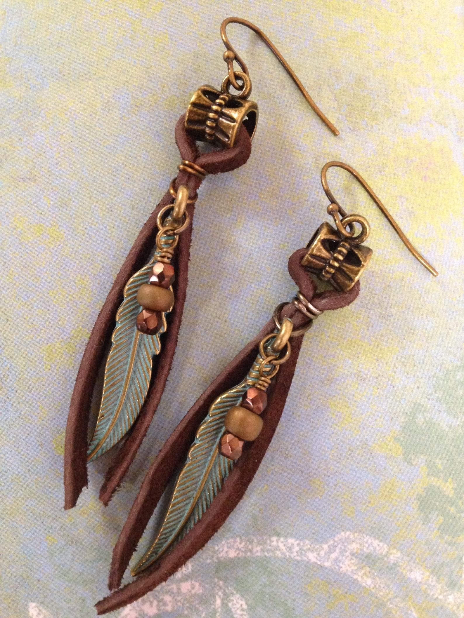 Photo of Boho Earrings Leather Earrings Feather Earrings Bohemian Earrings Boho Jewelry Tribal Leather Jewelry Mothers Day Gift for Mom Gift for Her