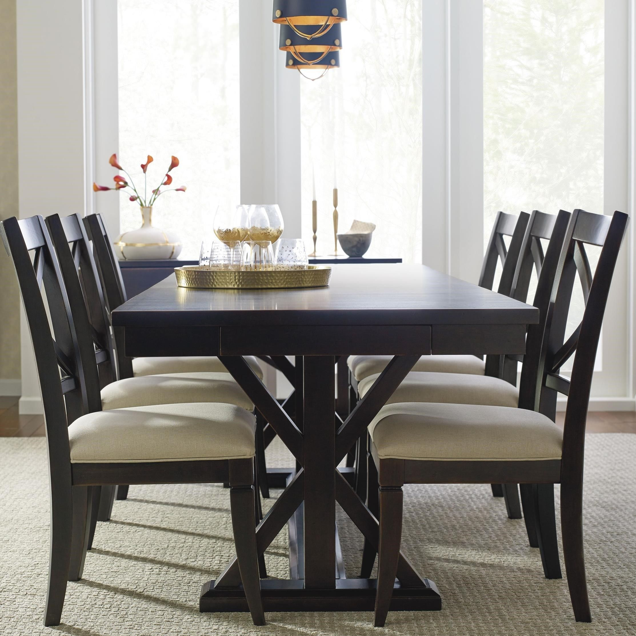 Everyday Dining Trestle Table And 6 Upholstered Chairs By Rachael