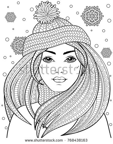 Young Beautiful Girl With Long Hair In Knitted Hat Tattoo Or Adult