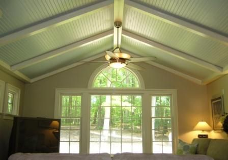 Cathedral Ceiling Ideas Skye Blue Beadboard White Beams Coastal Colors Services Home