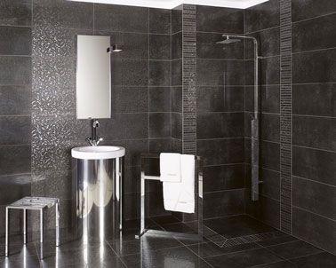 Carrelage salle de bain grise en grès cérame émaillé   Carrelage ...