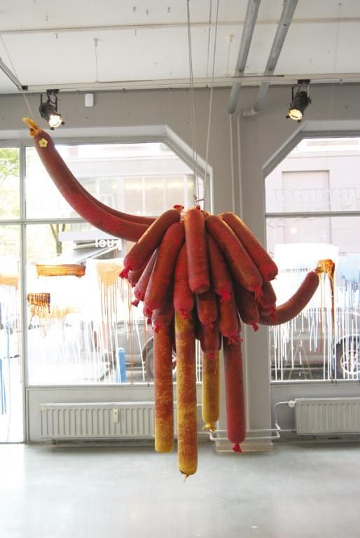 marije vogelzang s first solo exhibition fuel at mama in rotterdam from may 21 to july 6 2008 included cuddly sausages