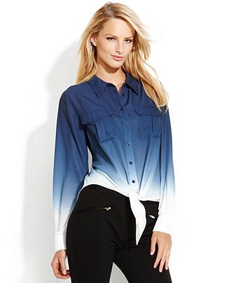 INC International Concepts Ombre Tie-Front Blouse - Tops ...