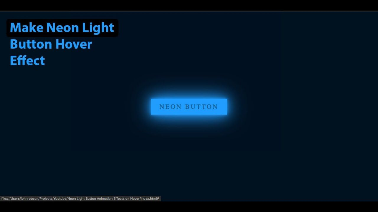 Neon Light Button Hover Effect Html Css In 2020 Neon Lighting