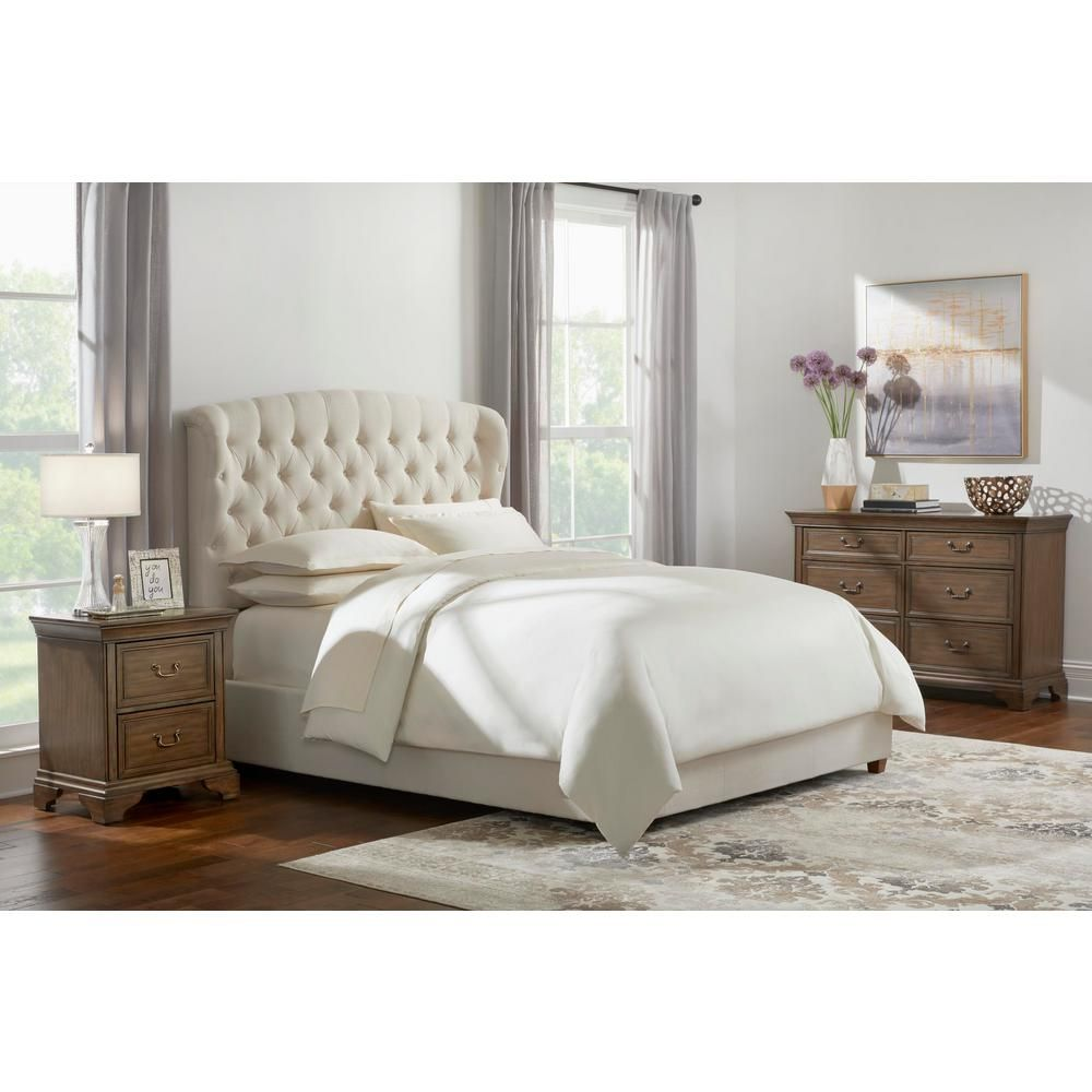 Home Decorators Collection Cecilia Ivory Upholstered King Bed With Wingback Detail 80 71 In W X 61 8 In H 2435bkri The Home Depot Queen Upholstered Bed King Upholstered Bed King Beds