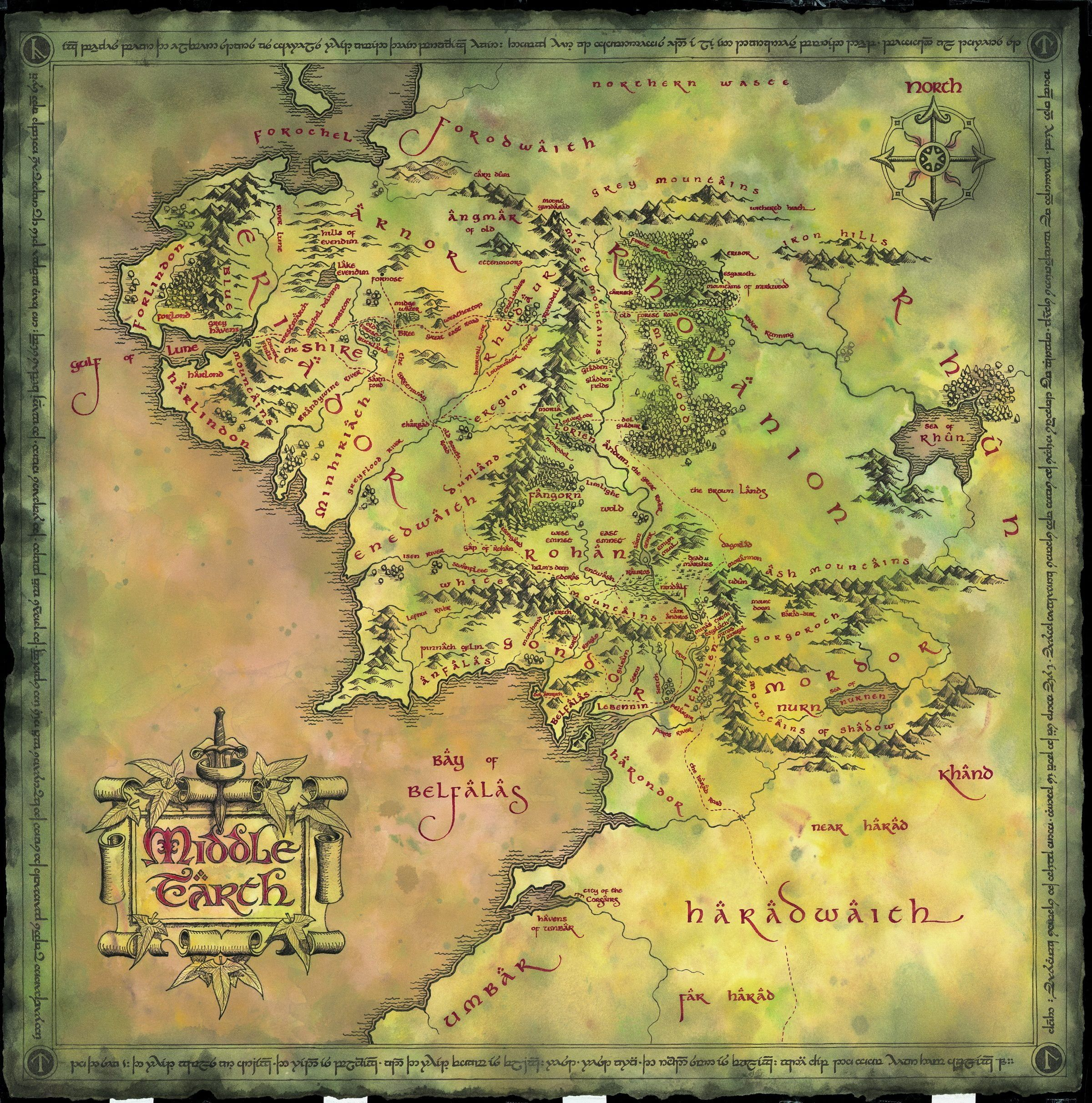 Middle Earth Map Wallpaper Map Lord Of The Rings Middle Earth