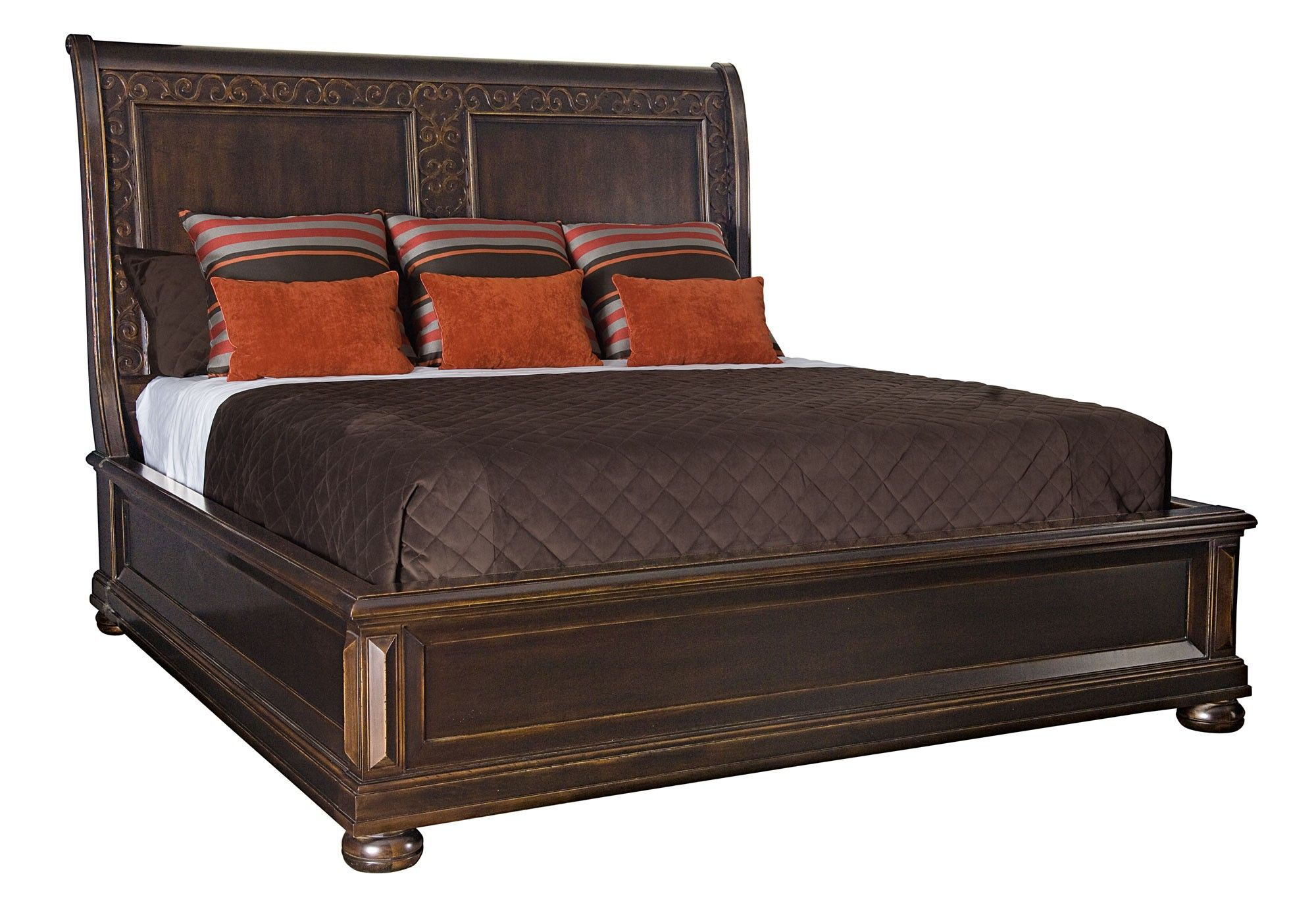 canyon king size sleigh bed with brown comforter king beds