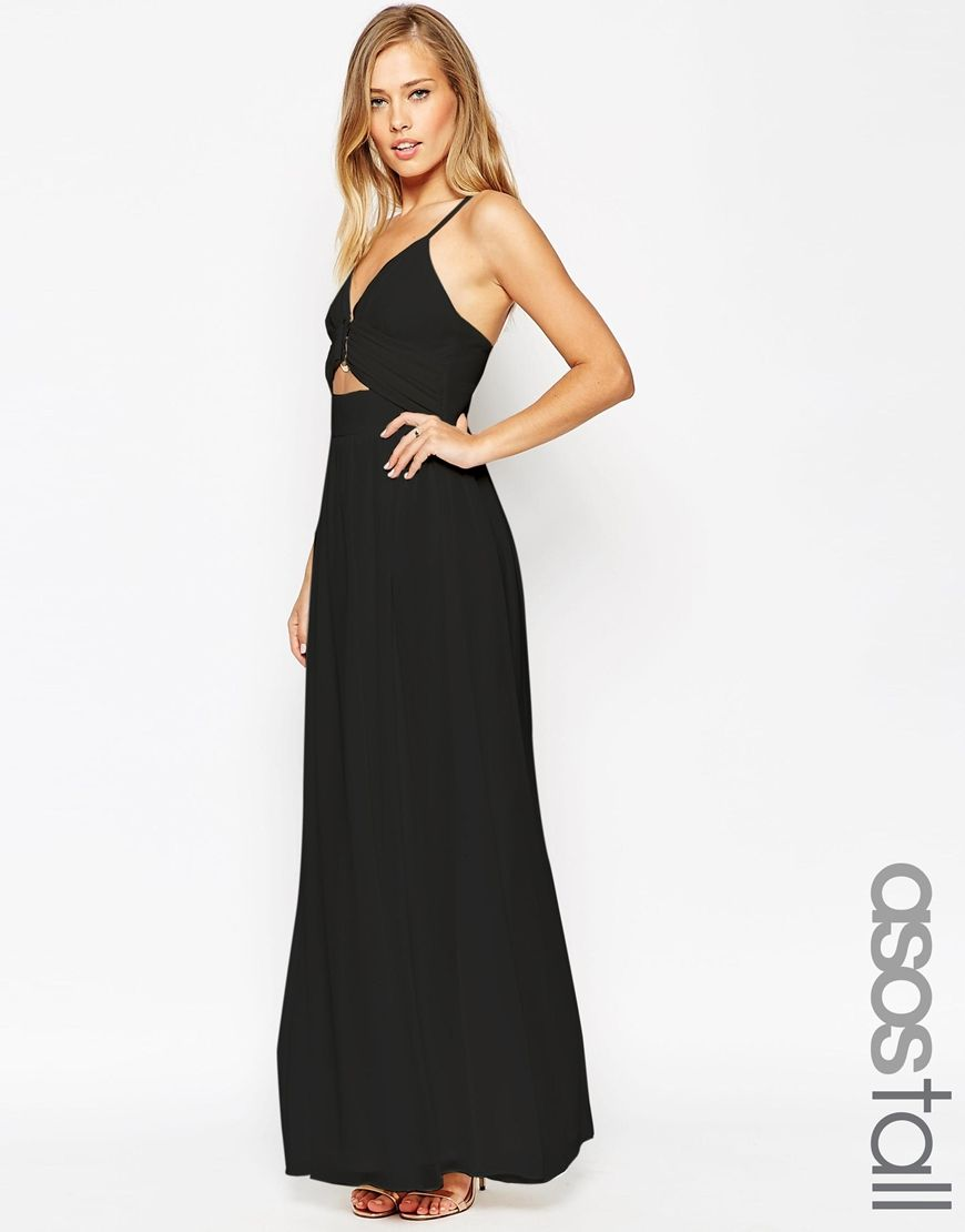 Black maxi dress with gold trim
