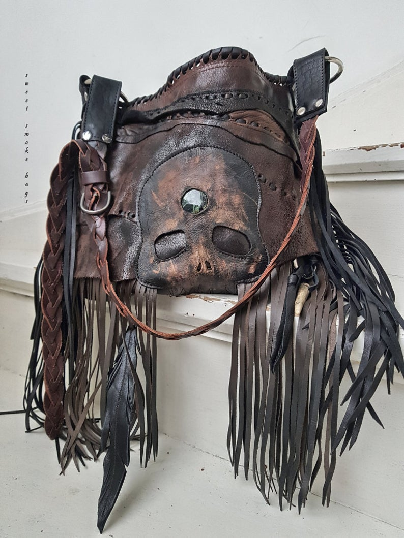 Photo of RESERVED Tribal skull biker feathers headress indian metalhead purse motorbike bag distressed leather hobo primitive festival sweet smoke