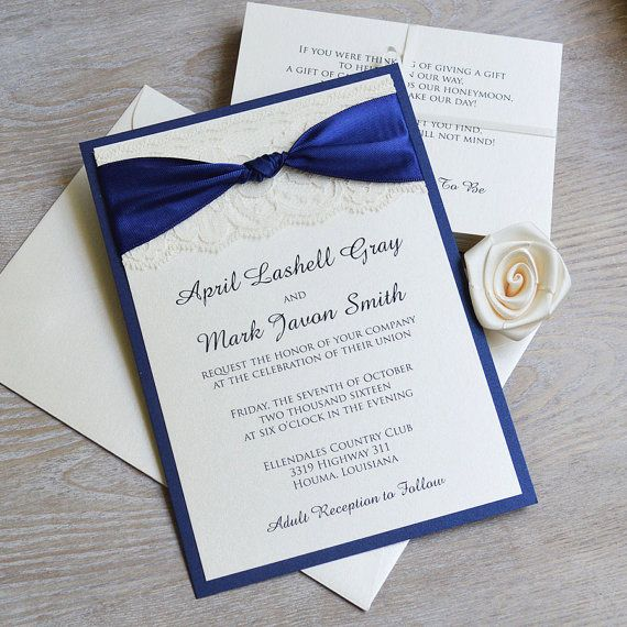 THE KNOT Navy and Ivory Lace Wedding Invitation Classic Lace