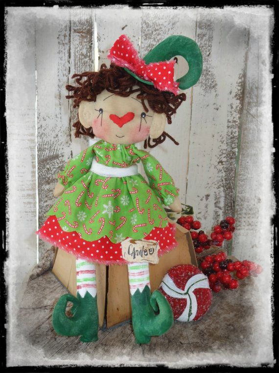 primitive christmas elf rag doll holiday by countrylifeisbest