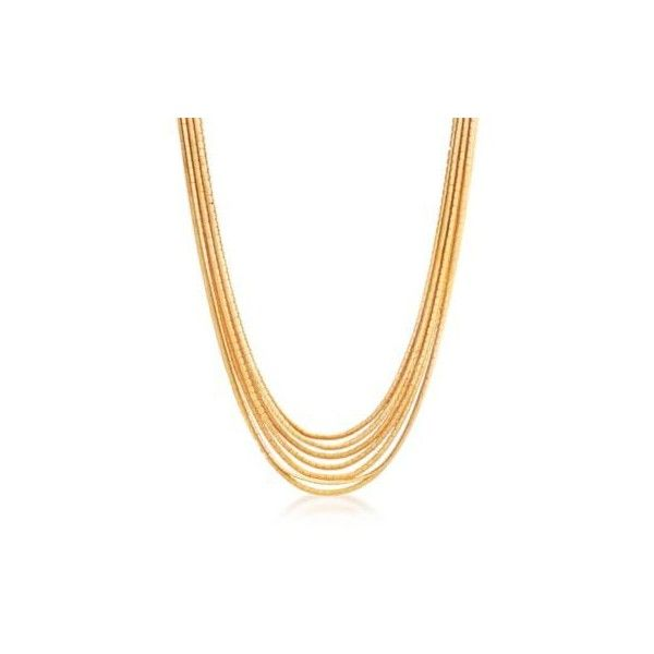 Tiffany C. 1970 Vintage Jewelry 7-Strand Omega Necklace. 16.5 inches (136.045 ARS) ❤ liked on Polyvore featuring jewelry, necklaces, gold strand necklace, vintage gold necklace, gold jewelry, vintage jewellery and vintage gold jewelry