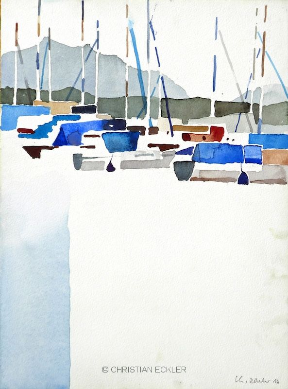 Rimsting Chiemsee 2016 Aquarell Aquarell Landschaften Blau Malerei