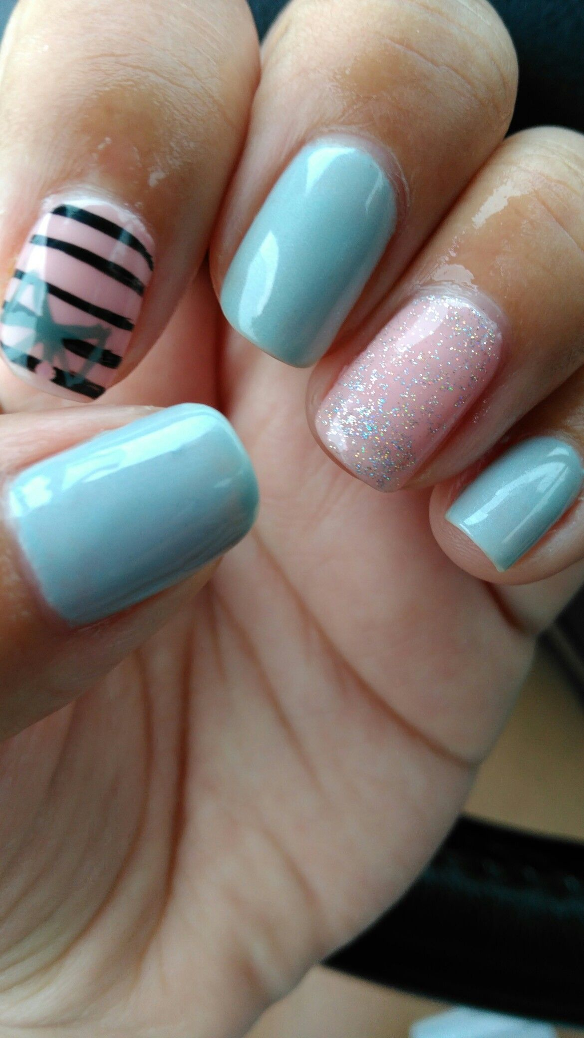 No chip nails,glitter gray, pastel pink, stripe with a bow. Happy ...