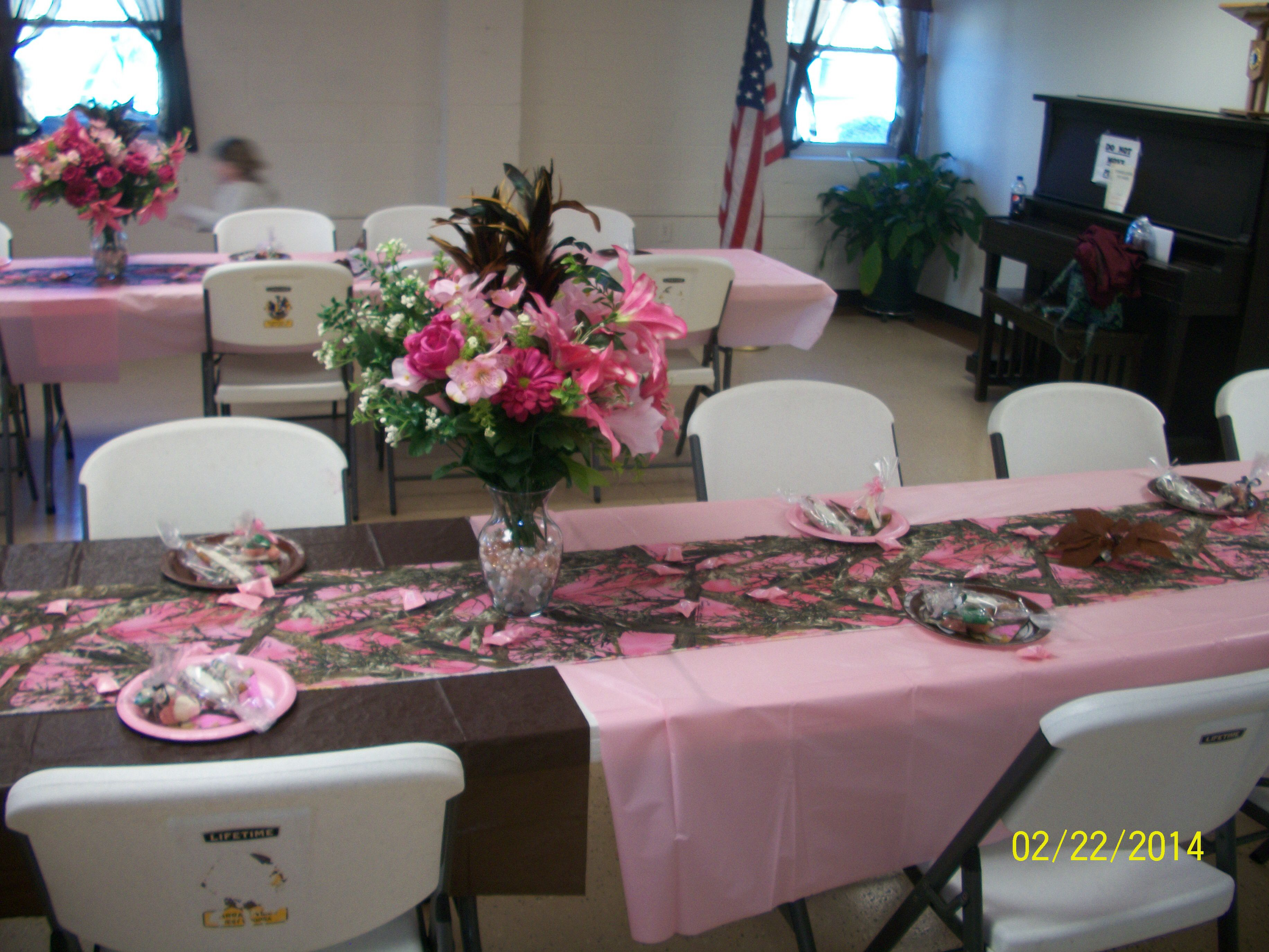 Pink camo baby shower 2 22 14 shower pinterest pink for Pink camo decorations