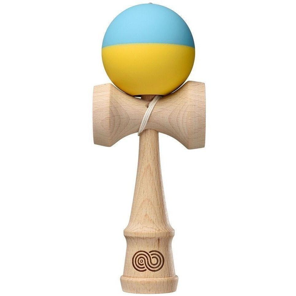 Kendama USA Kaizen Half Split Light Blue & Yellow - Silk Wooden Skill Toy KZN607- 1 Each