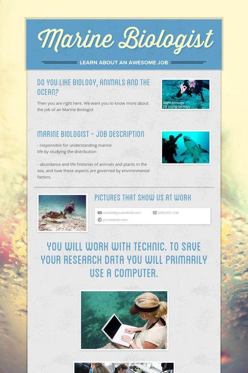Marine Biologist Marine Biologist Career Pinterest Marines - marine biologist job description
