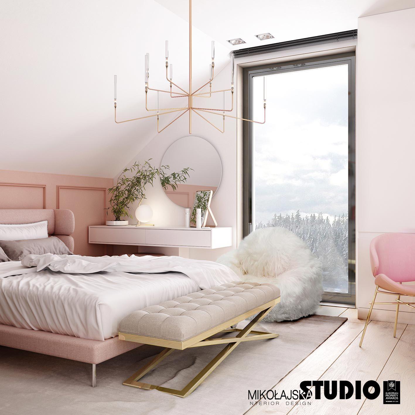 Jasno Różowe Tapicerowane łóżko Różowo Pastelowa Lamperia