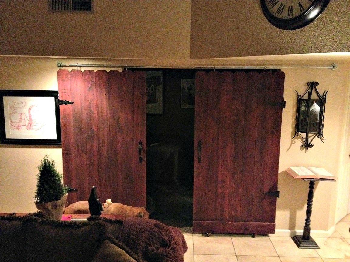 Sliding barn doors made from fence boards - project cost 130...these & Sliding barn doors made from fence boards - project cost: 130 ... pezcame.com