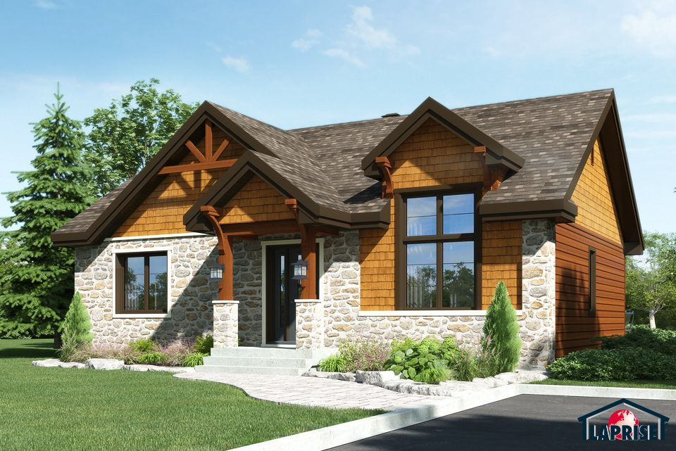 Country style homes chalet waterfront homes lap0374 for Prix maison prefab