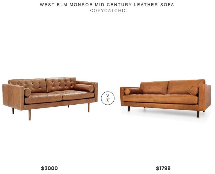 West Elm Monroe Mid Century Leather Sofa 3000 Vs Article Sven