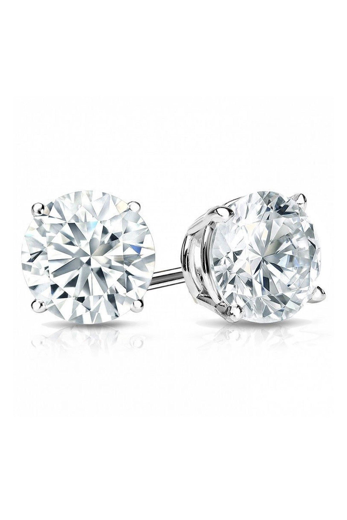 Sterling Silver Round Cut White CZ Stud Earrings