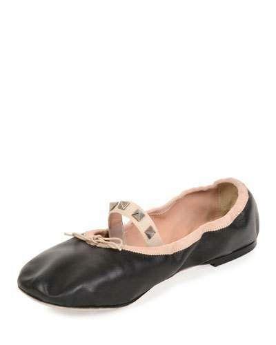 ae09d4f46f47 Valentino two-tone leather ballerina flat with signature Rockstud trim.  0.3