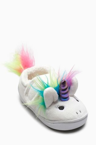 Buy White Unicorn Hard Sole Slippers (Younger Girls) from Next USA