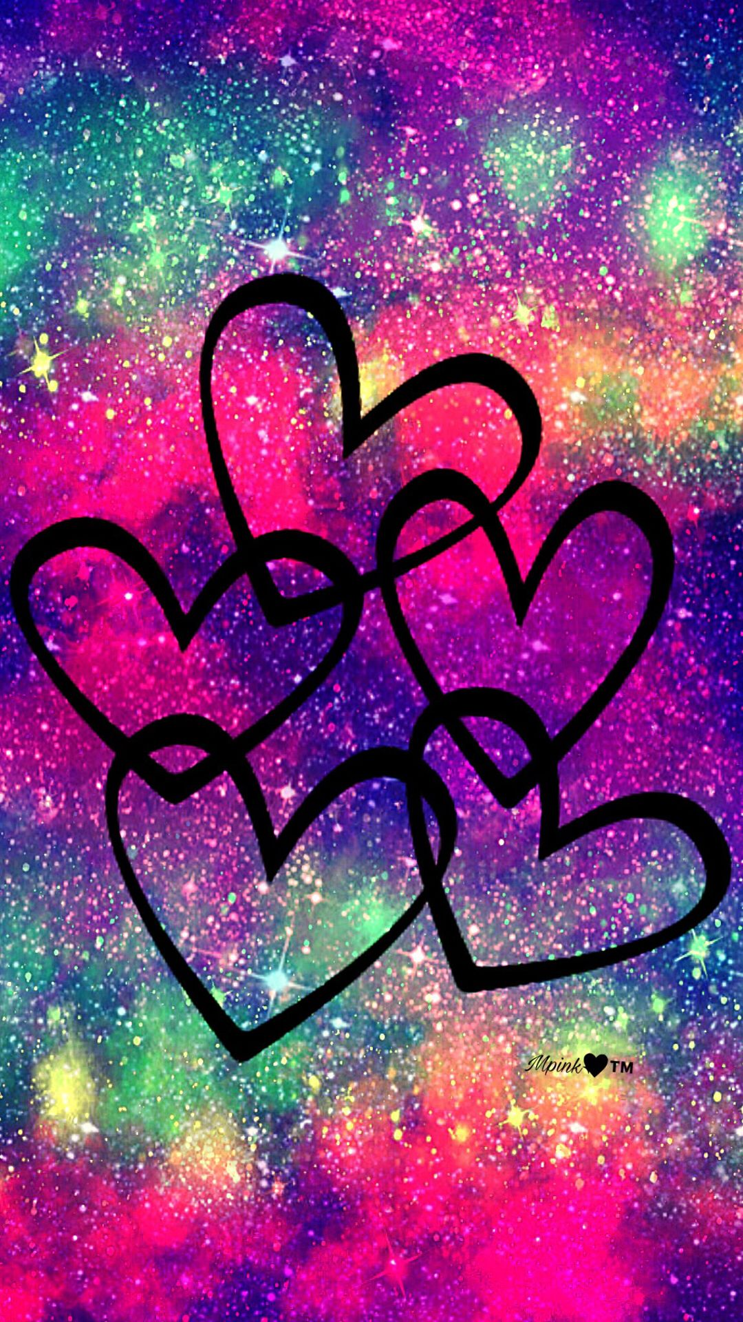 Rainbow Hearts Galaxy Wallpaper androidwallpaper iphonewallpaper