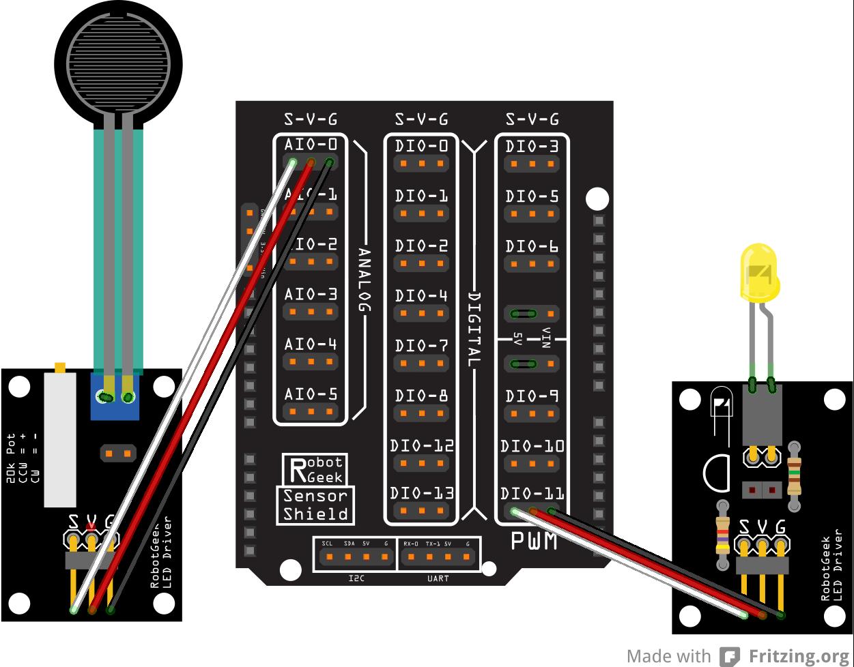 Voltage divider with pressure sensors Voltage divider