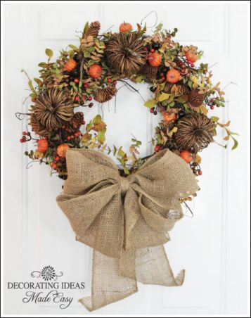 fall wreath with burlap ribbon