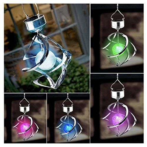 $10.9 - Solar Powered 7 Colors Changing Wind Chime Courtyard Hanging Moving Rotating LED Light - http://bit.ly/2b5ByH4 - 1 x 1.2V AAA 600mAh rechargeable battery (included) Charging time:6-8h in direct sunlight Working Time:8h if full charged