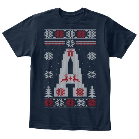 Letter A   Ugly Christmas Kids Shirt New Navy T-Shirt Front