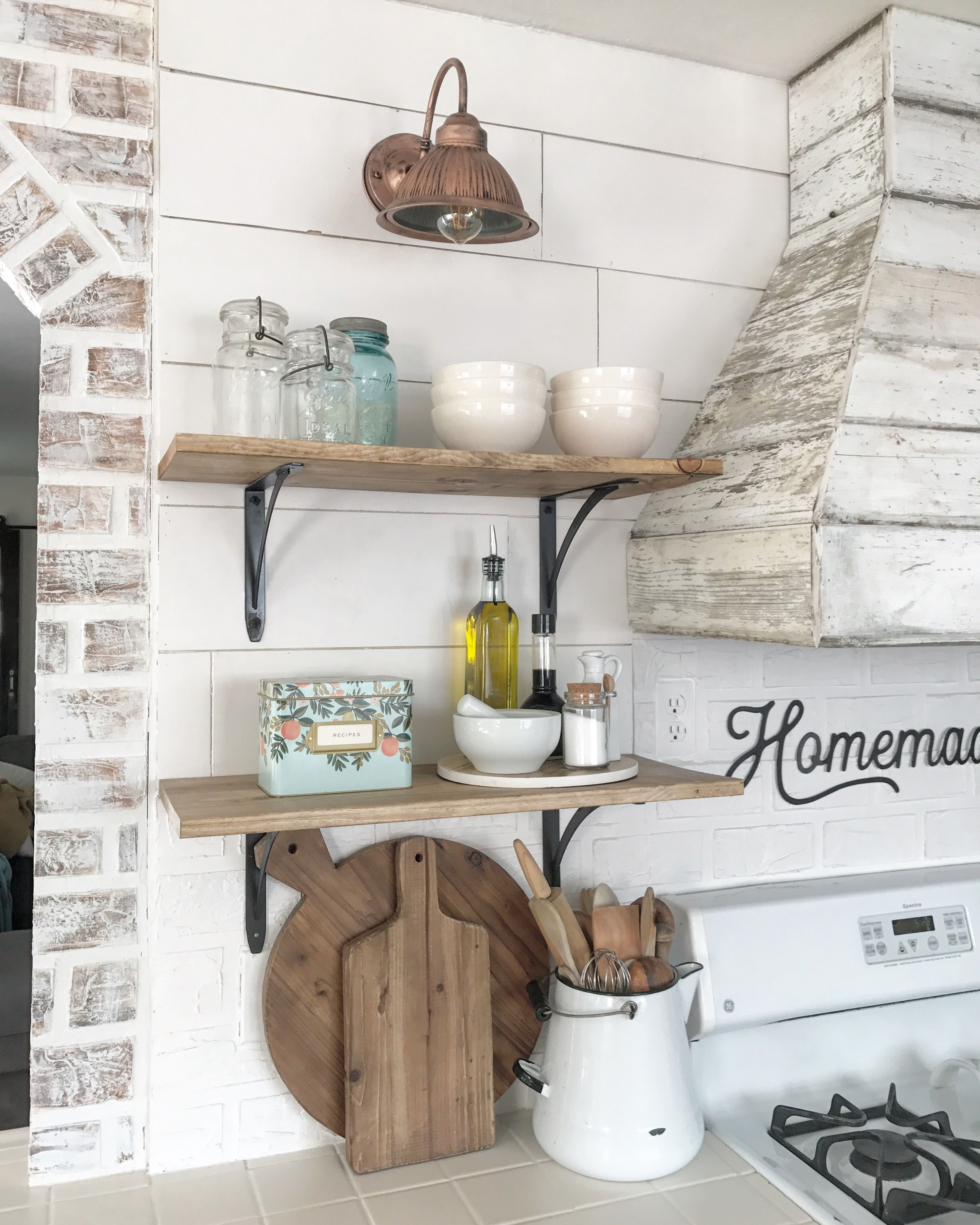 Wood hood open shelves rustic and farmhouse KITCHEN
