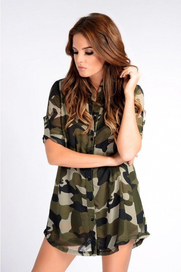 dc7b6c40e11d0 Binky Camo Shirt Dress - In The Style | Stuff to Buy | Camo shirts ...